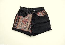 carpeted black high waisted shorts