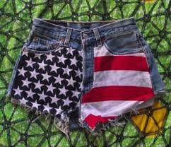flag high waisted shorts
